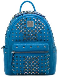 Mcm Studded Mini Backpack Blue