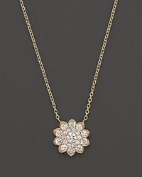 Bloomingdale's Diamond Cluster Flower Pendant Necklace In 14K Yellow Gold .65 Ct. T.W.