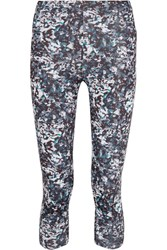 Live The Process Cropped Printed Stretch Supplex Leggings Blue