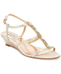 Badgley Mischka Carley Evening Wedge Sandals Women's Shoes Ivory