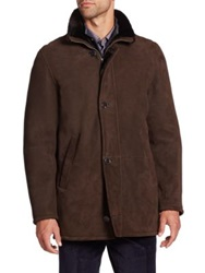 Saks Fifth Avenue Shearling Lined Leather Jacket Brown
