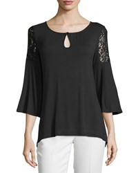 Neiman Marcus Lace Cold Shoulder Flutter Sleeve Tee Black