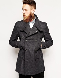 Asos Wool Jacket With Funnel Neck In Charcoal Charcoalgrey