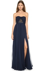 Reem Acra Silk Chiffon Full Skirt Gown Navy Black