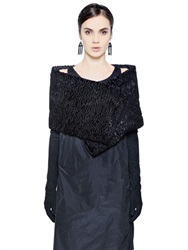 Max Mara 'S Astrakhan Effect Cotton Blend Shawl