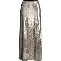 River Island Womens Silver Sequin Maxi Skirt