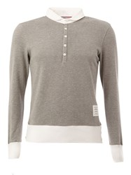 Thom Browne Long Sleeved Polo Shirt Grey