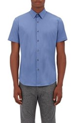 Theory Men's Sylvain Cotton Blend Short Sleeve Shirt Light Blue