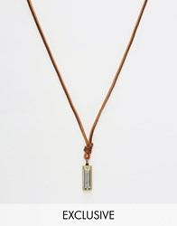 Reclaimed Vintage Harmonica Leather Necklace Brown