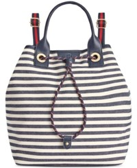 Tommy Hilfiger Adrianna Canvas Backpack Navy Natural