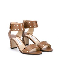 Jimmy Choo Veto 65 Leather Studded Sandals Tan White