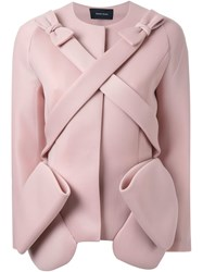 Simone Rocha Wrapped Bows Puffer Jackets Pink And Purple