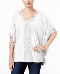 Jm Collection Crochet Trim Poncho Top Only At Macy's Bright White