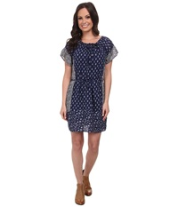 Lucky Brand Indigo Floral Dress Navy Multi Women's Dress Blue