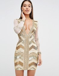 Missguided Plunge Premium Embellished Mini Dress Gold