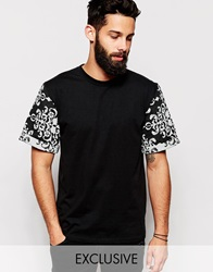 Reclaimed Vintage T Shirt With Tapestry Print Sleeves Black