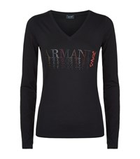 Armani Jeans Crystal Logo Long Sleeve T Shirt Female Blue