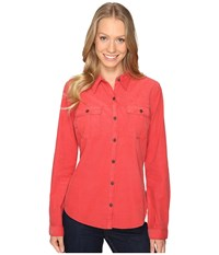 Royal Robbins Cascade Cord Long Sleeve Thimbleberry Women's Long Sleeve Button Up Red