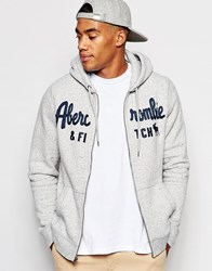 Abercrombie And Fitch Hoodie In Core Zip Through Fit In Grey Marl Grey