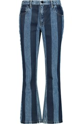 Alexander Wang Striped High Rise Bootcut Jeans Mid Denim