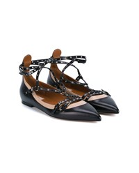 Valentino Lovelatch Leather Ballet Flats Black Silver Beige