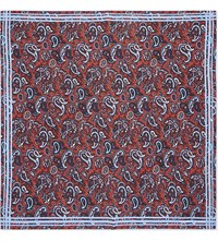 Turnbull And Asser Ornate Paisley Silk Pocket Square Red Blue
