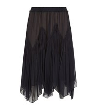 Chloe Tiered Sheer Silk Skirt Female Navy
