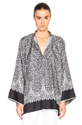 Helmut Lang Kimono Floral Top In Black Floral