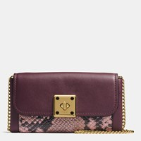 Coach Drifter Wallet In Exotic Embossed Leather Light Gold Oxblood Multi