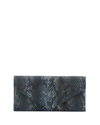 Neiman Marcus Snake Embossed Envelope Travel Wallet Blue Snake