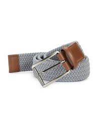 Perry Ellis Woven Leather Trim Belt Grey