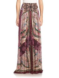 Etro Silk And Lace Maxi Skirt Purple