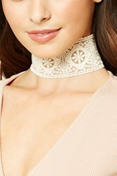 Forever 21 Embroidered Lace Choker Cream