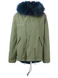 Mr And Mrs Italy Raccoon Coyote Fur Lined Jacket Green