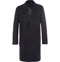 Solid Homme Wool Blend Overcoat Blue