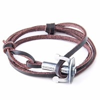 Anchor And Crew Dark Brown Union Leather Bracelet