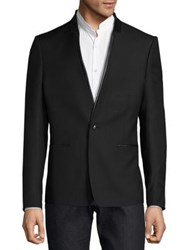 The Kooples Long Sleeve Jacket With Leather Lapels Black