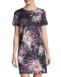 Trina Turk Floral Print Short Sleeve Shift Dress Multi