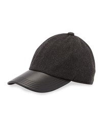 Neiman Marcus Cashmere Leather Trim Baseball Cap Charcoal