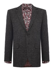 New And Lingwood Gainsborough Lambswool Pow Check Blazer Grey