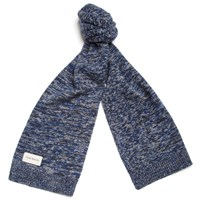 Oliver Spencer Black Wool Elgin Scarf Blue