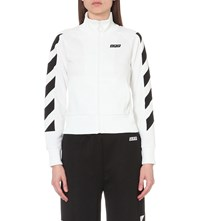 Off White C O Virgil Abloh Sporty Zip Up Cotton Jersey Jacket White Multi