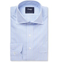 Drakes Striped Cotton And Linen Blend Shirt Blue