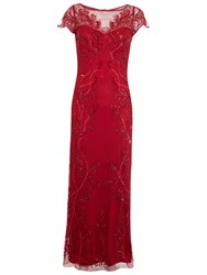 Miss Selfridge Leafy Maxi Dress Red