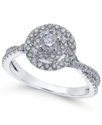 Macy's Diamond Halo Engagement Ring 3 4 Ct. T.W. In 14K White Gold