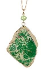 Spring Street Green Marble Slab Pendant Necklace