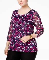 Alfani Plus Size Tiered Printed Mesh Top Only At Macy's Small Color Block Iris