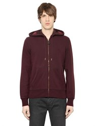 Burberry Hooded Zip Up Cotton Blend Sweatshirt