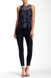 7 For All Mankind Zip Detail Faux Leather Waist Skinny Jean Black