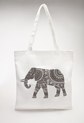Forever 21 Elephant Graphic Canvas Tote